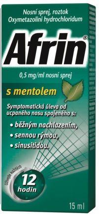 Afrin 0,5 mg / ml nosní sprej s mentolem 15 ml cena od 84 Kč