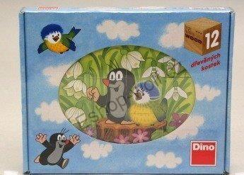 DINO Dřevěné kostky Krteček a ptáček 12 ks cena od 225 Kč