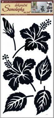 Anděl Přerov Samolepka Room Decor ibišek s listy černý 69x30 cm