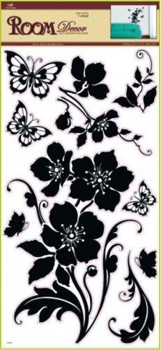Anděl Přerov Samolepka Room Decor černá květina s motýli 69x30 cm
