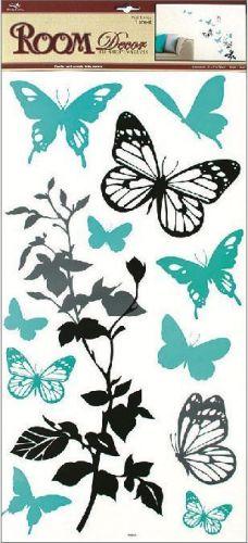 Anděl Přerov Samolepka Room Decor Černošedá s tyrkysovými Motýly 69x32 cm