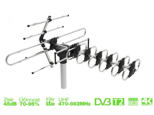 EVOLVEO GT aktivní venkovní DVB-T/T2 anténa