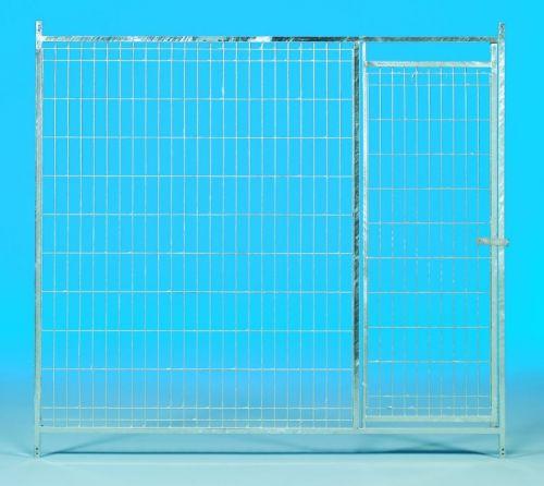 GAUN Přední stěna venkovního boxu 2 x 1,85 m pro psy z pletiva s dvířky