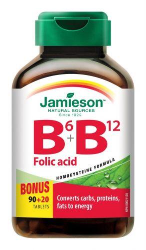 JAMIESON Vitamíny B6,B12 + kyselina listová 110 tablet