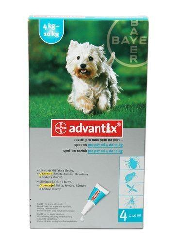 Advantix Pro psy od 4 kg do 10 kg a.u.v.4x1 ml