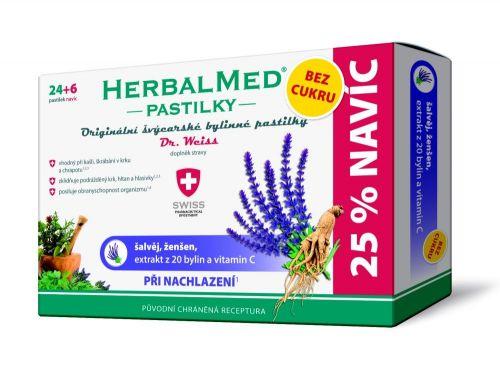 HerbalMed pastilky Dr.Weiss BEZ CUKRU Šalvěj+ženšen+vitamín C 24+6 pastilek