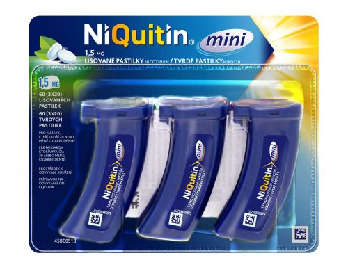 NiQuitin Mini 1,5 mg 60 pastilek cena od 289 Kč