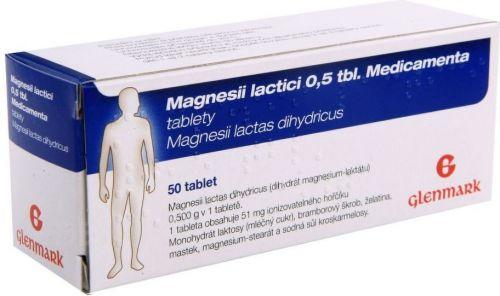 Magnesii lactici 0,5 tbl Medicamenta 50 tablet cena od 65 Kč