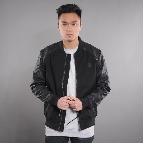 Urban Classics Cotton Bomber Leather Imitation Sleeve bunda