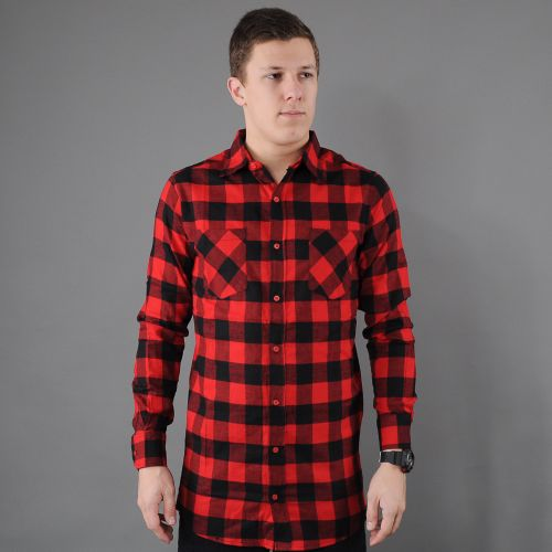 Urban Classics Side-Zip Long Checked Flanell košile