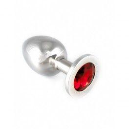 Rimba kovový anální kolík velký s červeným krystalem #7983