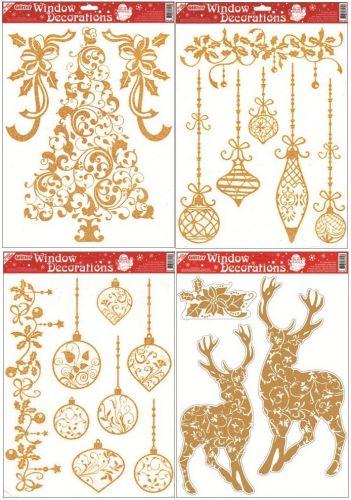 Anděl Přerov Okenní fólie Baňky, stromek, jelen se zlatými glitry set