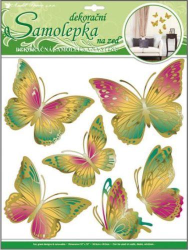 Anděl Přerov Room Decor motýli zelenooranžoví s pohyblivými zlatými křídly