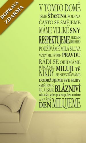 Shopnisi Samolepka na zeď Domov, šťastná rodina