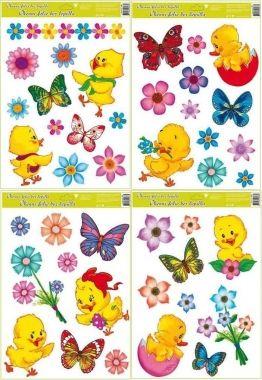 Anděl Přerov Okenní fólie kuřátka, květiny a motýlci