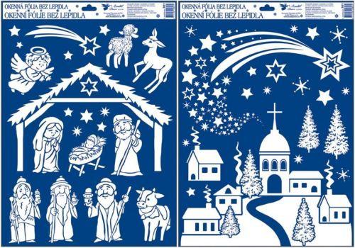 Anděl Přerov Okenní fólie betlém a vesnice z duhových glitrů