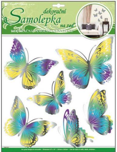 Anděl Přerov Room Decor motýli žlutomodří s pohyblivými stříbrnými křídly