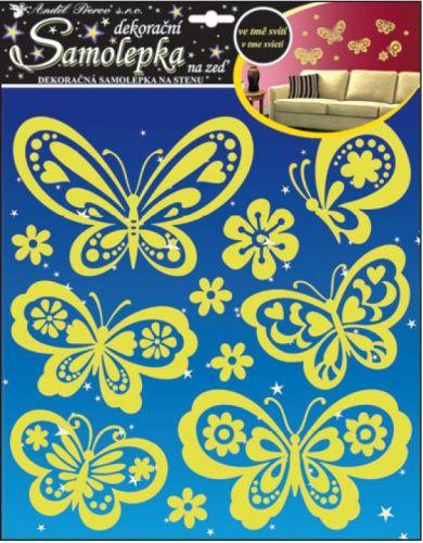 Anděl Přerov Samolepky na zeď svítící ve tmě motýli