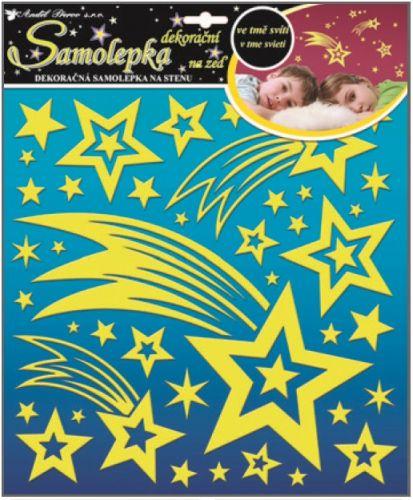 Anděl Přerov Svítící samolepka kometa a hvězdičky s glitry svítící ve tmě