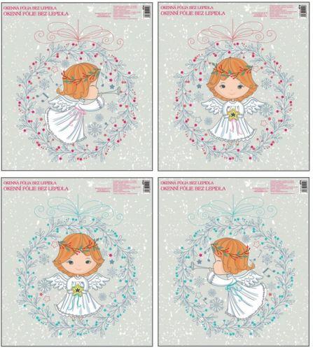 Anděl Přerov Fólie okenní andílci ve věnečku