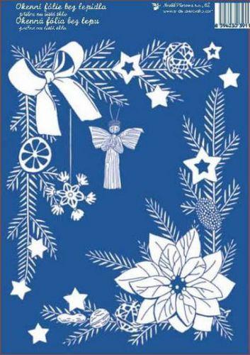 Anděl Přerov Okenní fólie Slaměnky, Vánoční růže rohová bílá 33x23 cm