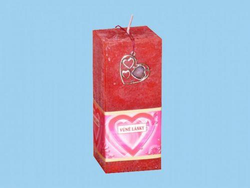 Rentex Svíčka kvádr valentýn s přívěskem vůně lásky