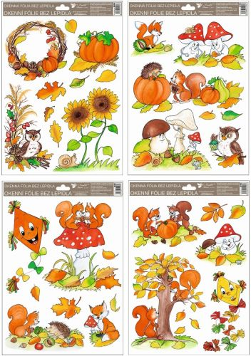 Anděl Přerov Okenní fólie malovaný podzim sovy,veverky,lišky