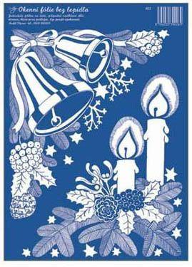 Anděl Přerov Okenní fólie Zvonky a Svíčky rohová bílá 33x23 cm