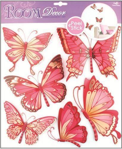 Anděl Přerov Samolepka Room Decor Motýli s pohyblivými křídly růžoví