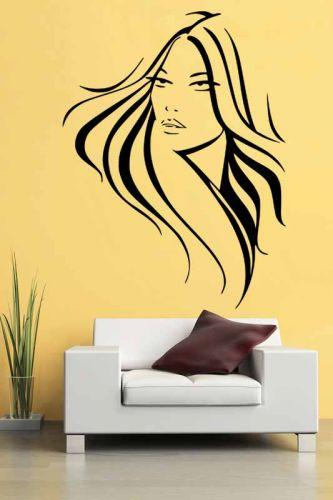 Shopnisi Samolepka na zeď Žena s dlouhými vlasy