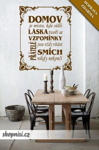 Shopnisi Samolepka na zeď Nápis na stěnu Domov je místo