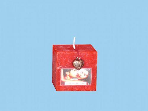 Rentex Svíčka kostička valentýn s přívěskem vůně lásky