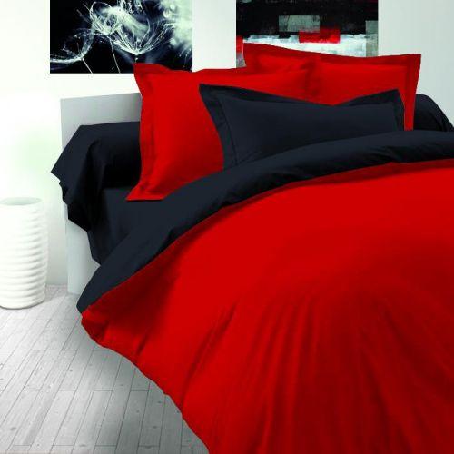 Kvalitex LUXURY COLLECTION bavlněný satén červeno / černé povlečení