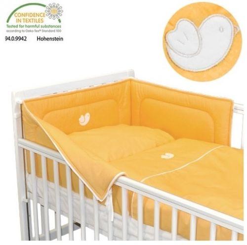 Babyrenka Bird Orange bílý lem bavlněné povlečení