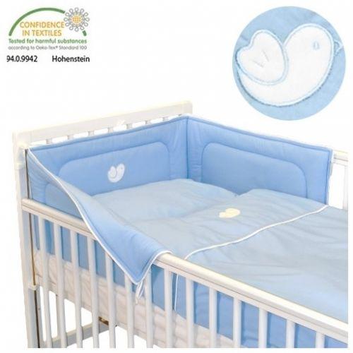 Babyrenka Bird Sky Blue bílý lem bavlněné povlečení