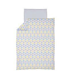 Ceba Trojúhelníky modro-žluté bavlněné povlečení
