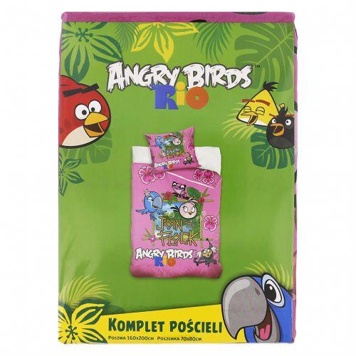 Carbotex Angry Birds Rio růžové bavlněné povlečení
