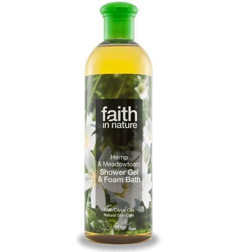 Faith in Nature 2v1 konopný a mokřadkový sprchový gel a pěna do koupele 400 ml