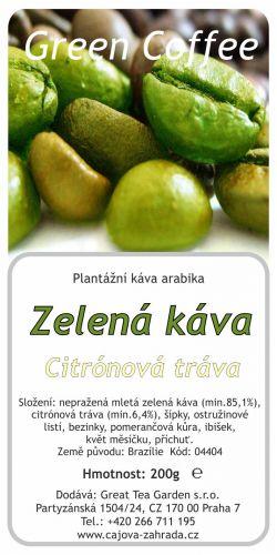 Great Tea Garden Zelená káva s citrónovou trávou 200 g cena od 139 Kč