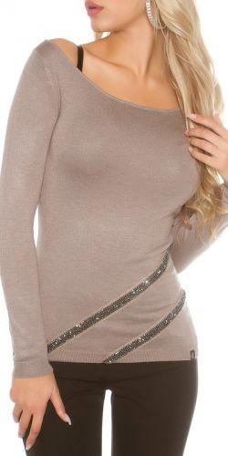 Koucla Jemný pletený svetr s kamínky