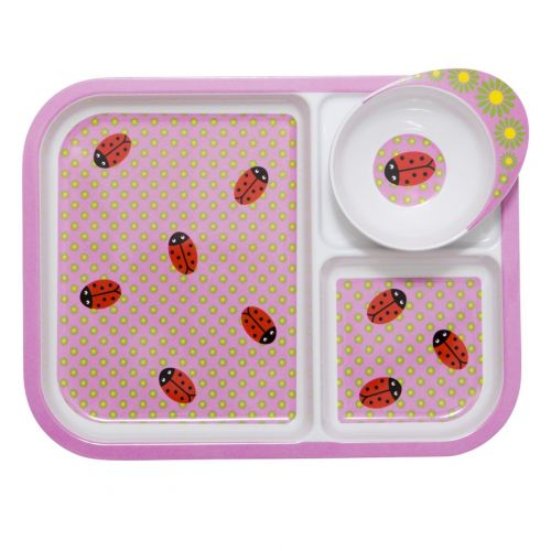 Rice Melaminový talíř se 3 přihrádkami a miskou Ladybug