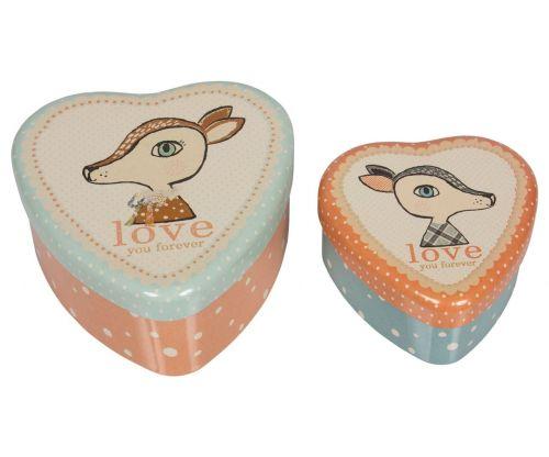 Maileg Plechové krabičky ve tvaru srdce Bambi set