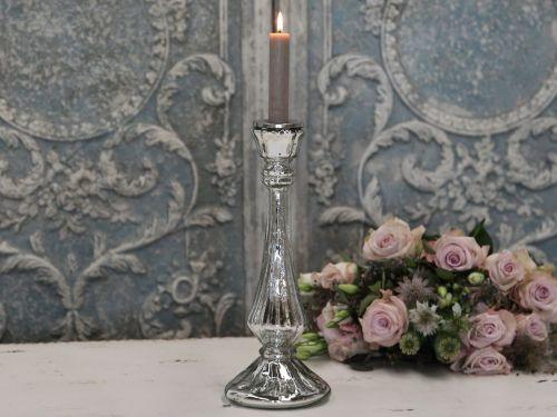 Chic Antique Vysoký skleněný svícen Antique
