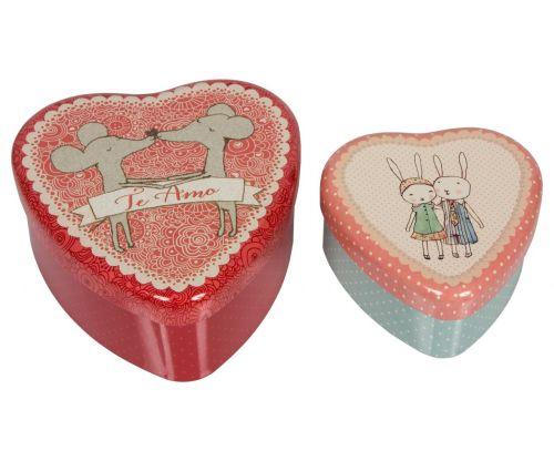 Maileg Plechové krabičky ve tvaru srdce Te amo set