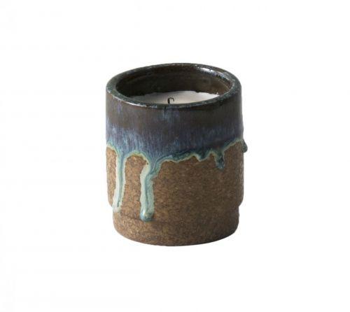 ferm LIVING Vonná svíčka v keramickém svícnu Running Blue