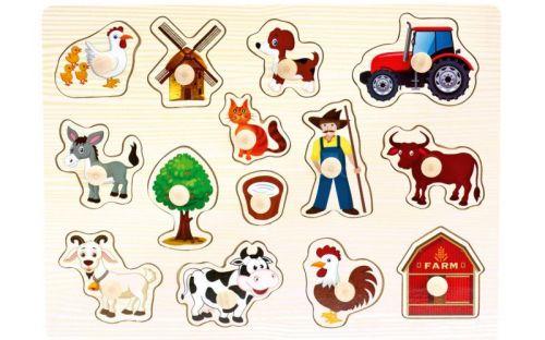 Bino Dřevěné puzzle farma 14 dílků cena od 83 Kč