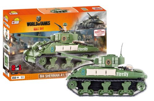 COBI stavebnice WORLD OF TANKS Sherman A1/Firefly 2v1 450 k