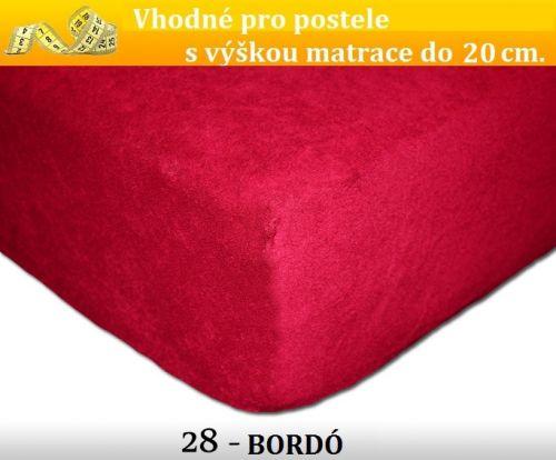 FIT 28 BORDÓ froté prostěradlo