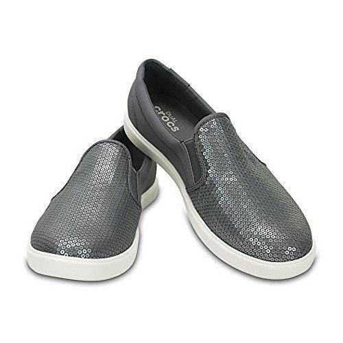 49f98d8cf0b Crocs CitiLane Sequin Slip-on Silver boty