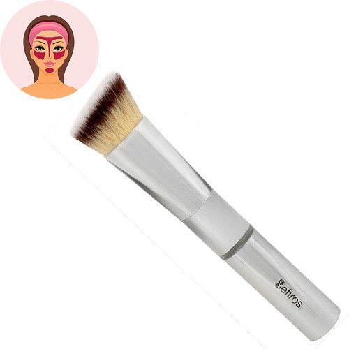 Sefiros Šikmý štětec na make-up Silver (Foundation Brush Angular)